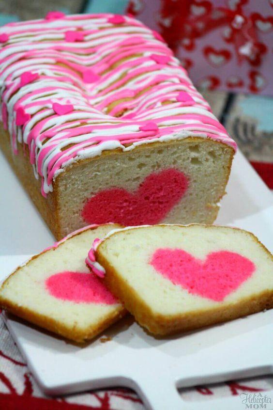 Vanilla strawberry heart cake.