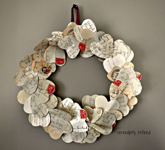 Vintage valentine day wreath with old letters.