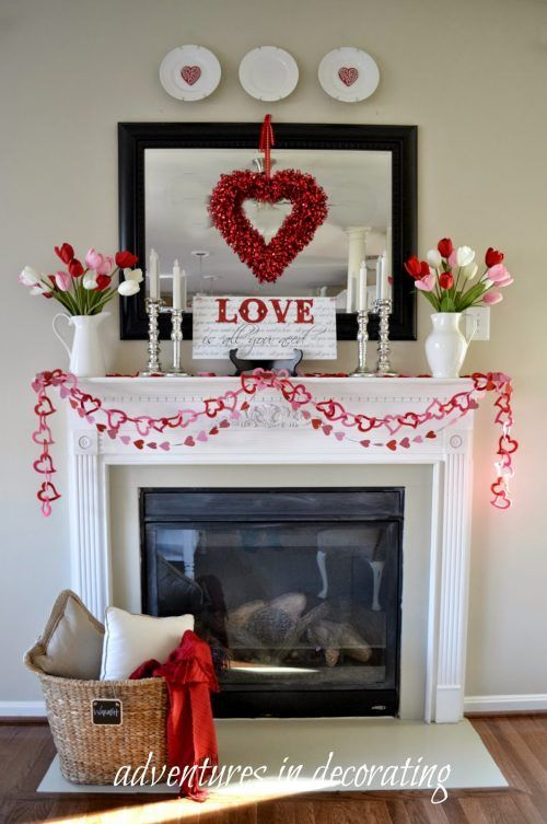 Warming mantel decor with diy heart garland.