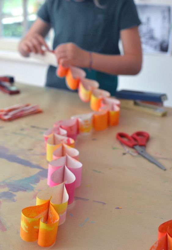 Water color heart paper garland.