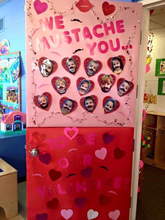 We mustache you Valentine's day door decoration.