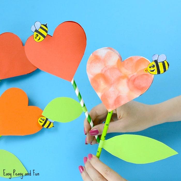 Wonderful heart flowers craft.