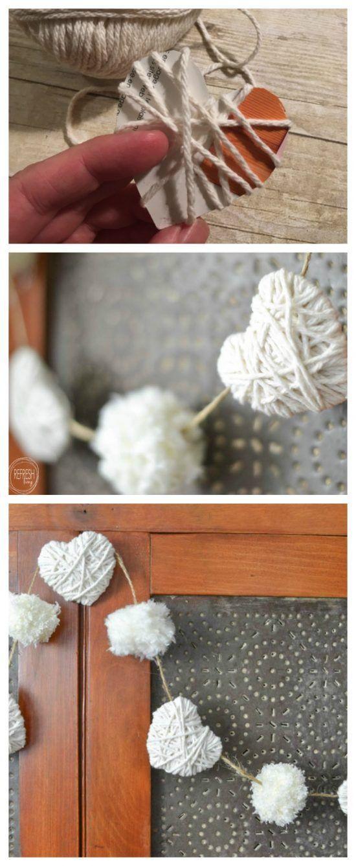 Yarn heart and pom-pom garland.