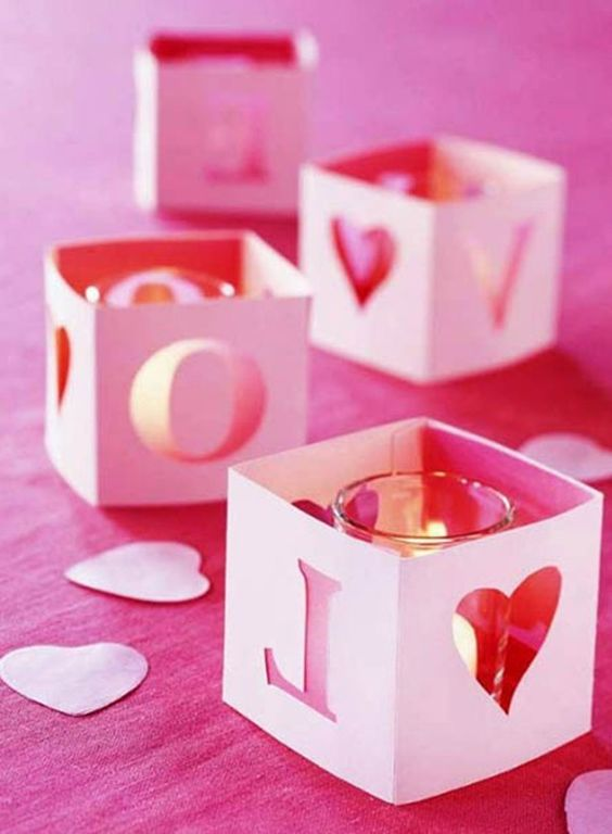 warm candle crafts for Valentines day.