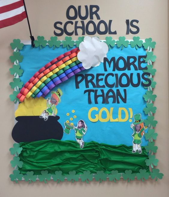 Awesome St. Patricks day Theme Bulletin board decor.