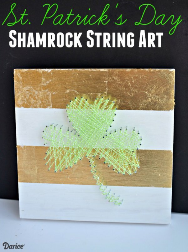 Awesome shamrock string art for wall decor.
