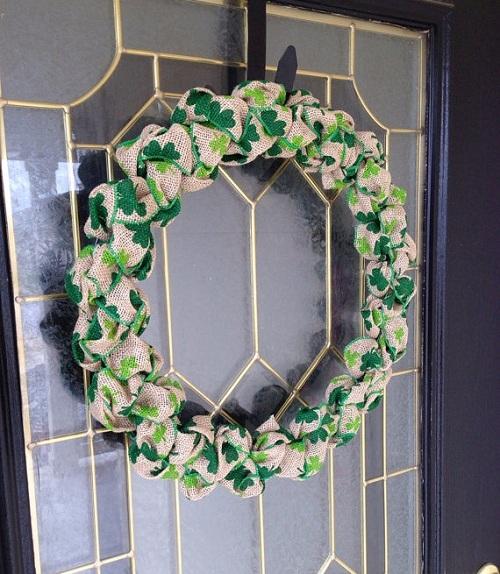 Beautiful burlap shamrock wreath for door.