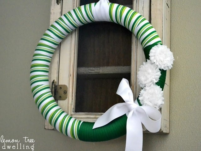 Beautiful striped wreath for decoration.