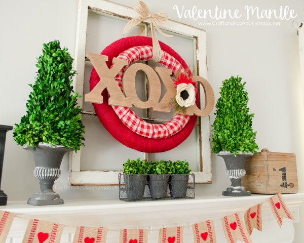 Burlap wreath and banner for home decor.