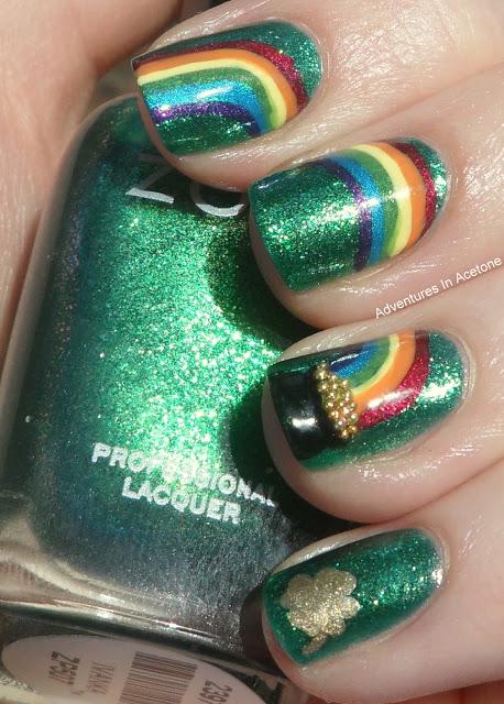 Charming rainbow nails.