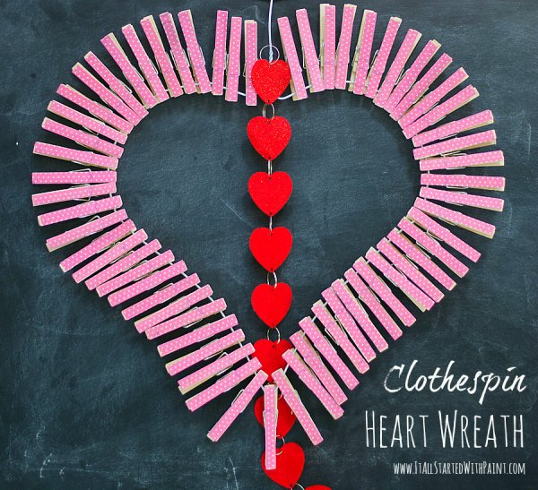 Clothespin heart wreath.