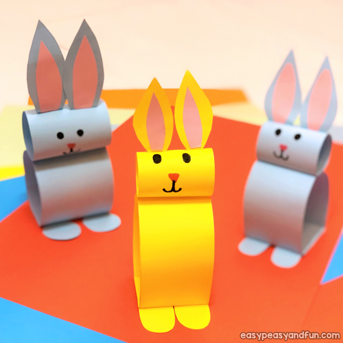 Colorful paper bunny for kids.