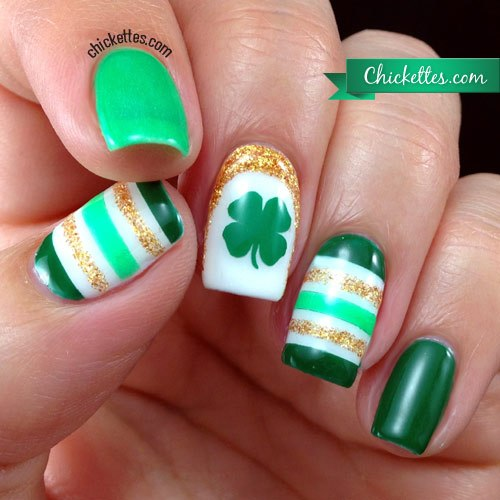 Cool green stripes with shamrock.