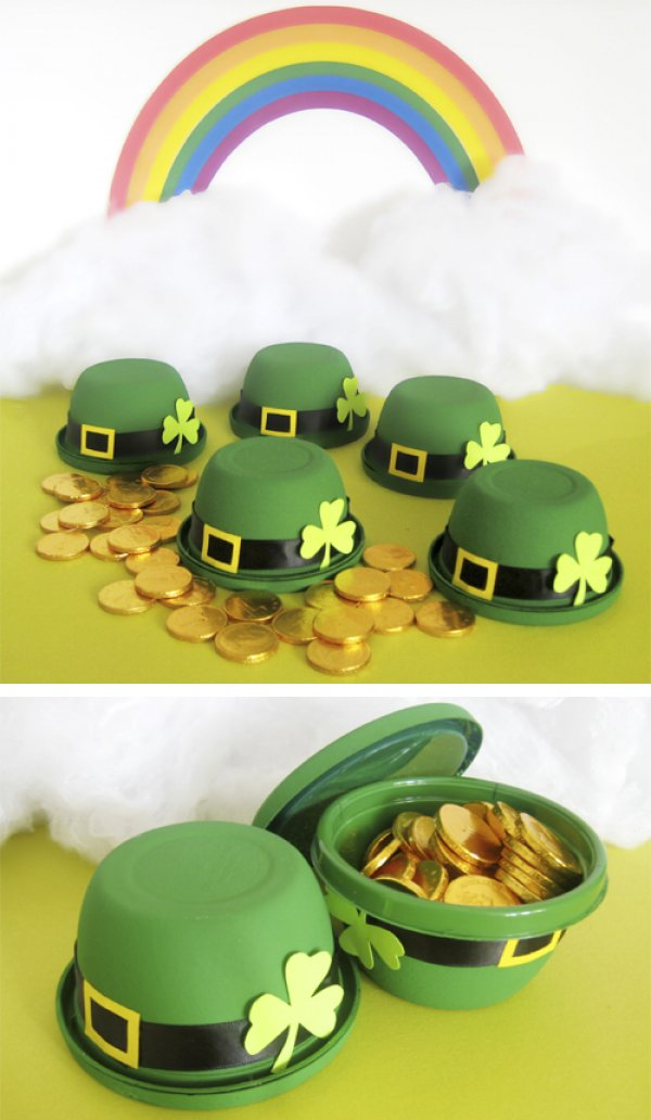Creative St. Patricks Day little leprechaun bowler hats.