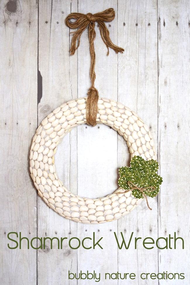 Creative shamrock wreath of lima beans and split pea.