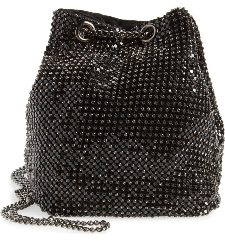 Crystal mesh bucket bag.