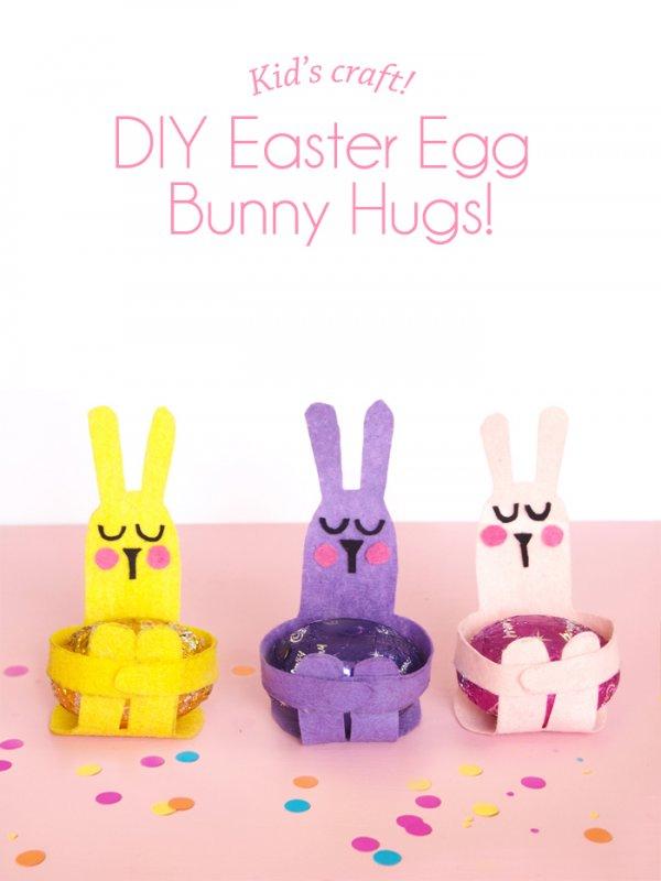 Cute easter egg bunny hugs craft for kids.
