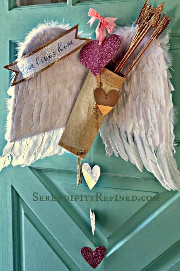 DIY cupid wing love Valentines day door decoration wreath.