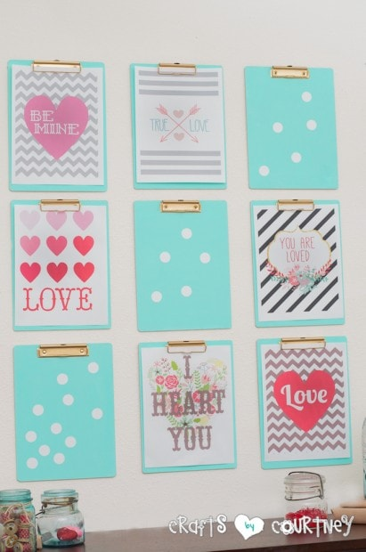 DIY love clipboard frames.