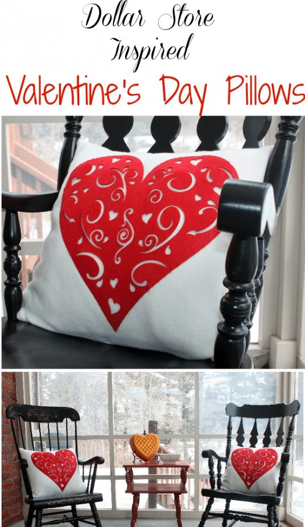 Dollar store Valentines day pillows.