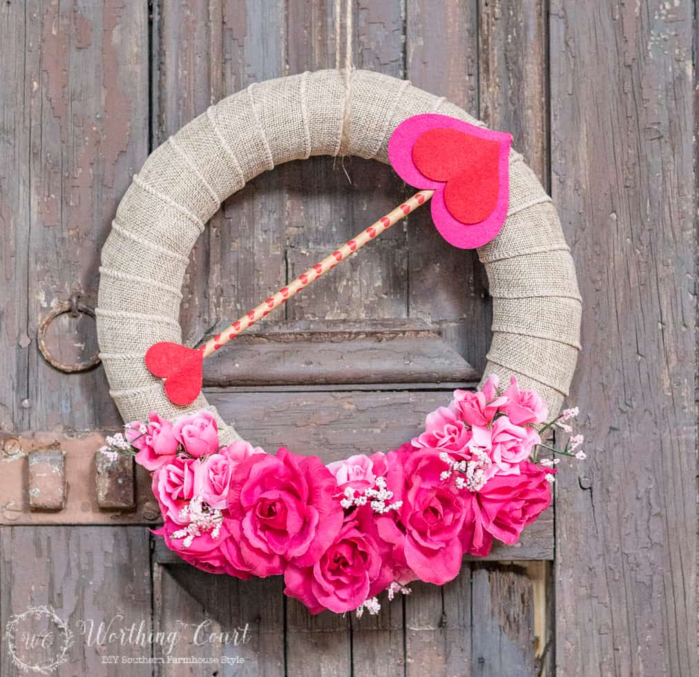 Dollar store Valentines day wreath.