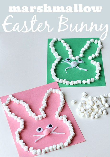 Easter bunny craft with mini marshmallows.