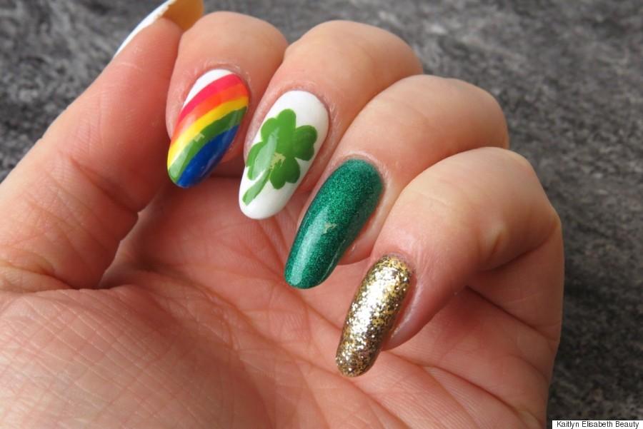 Easy St. Patricks day nails.