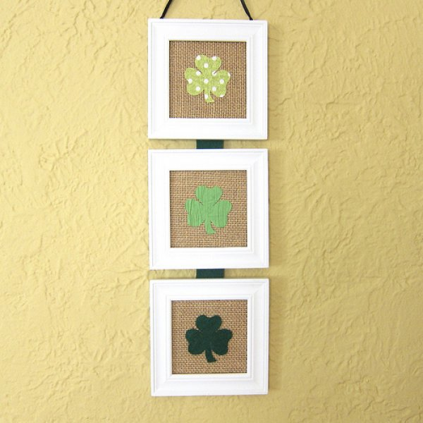 Elegant framed burlap shamrock wall art.