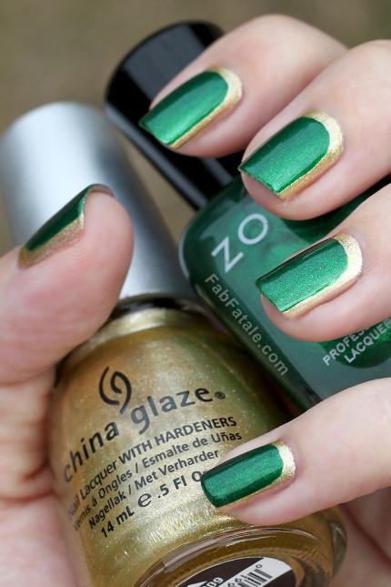 Emerald nails with gold.