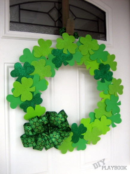 Exclusive shamrock wreath with bow.