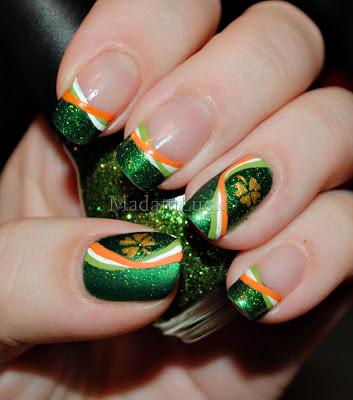 Exquisite irish pride nail art.