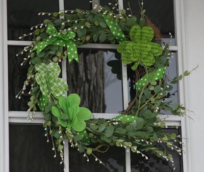 Fabric shamrock wreath for front door.
