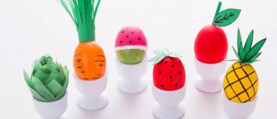 Fruits and veggi egg decor for easter.