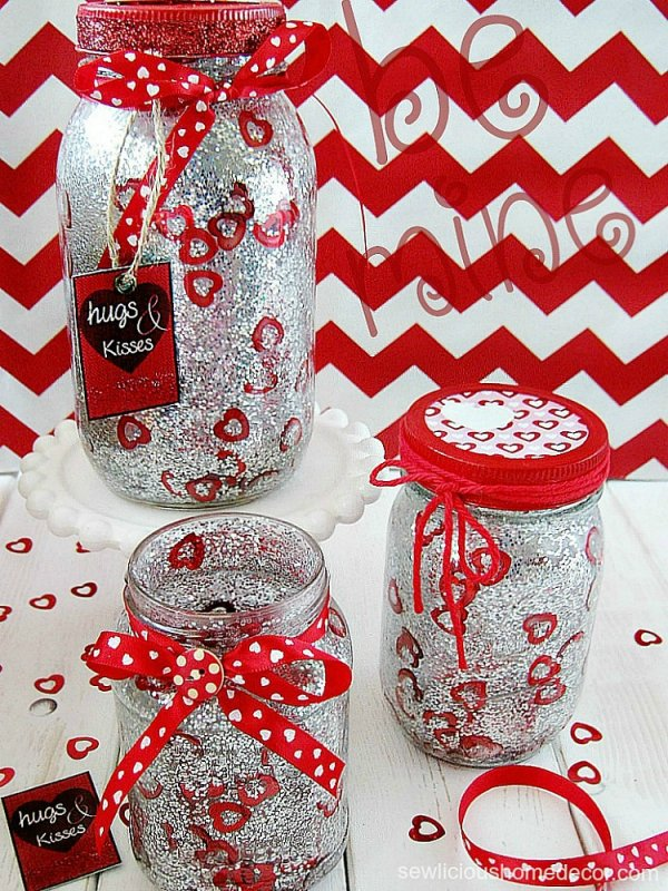 Glitter confetti Valentine mason jars.