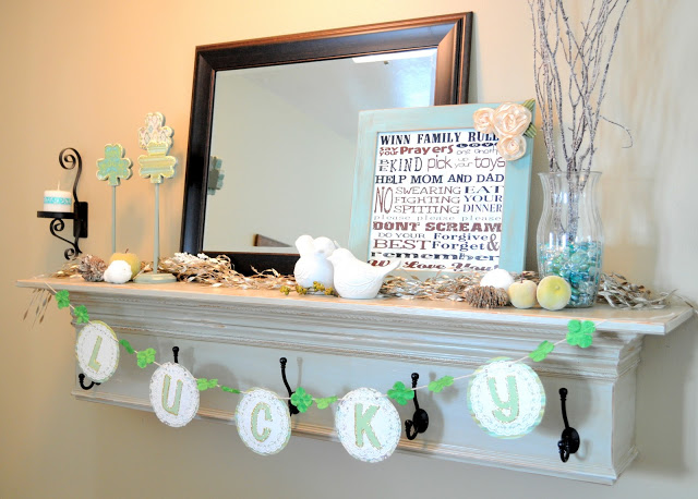 Handmade Lucky banner for mantle decor.