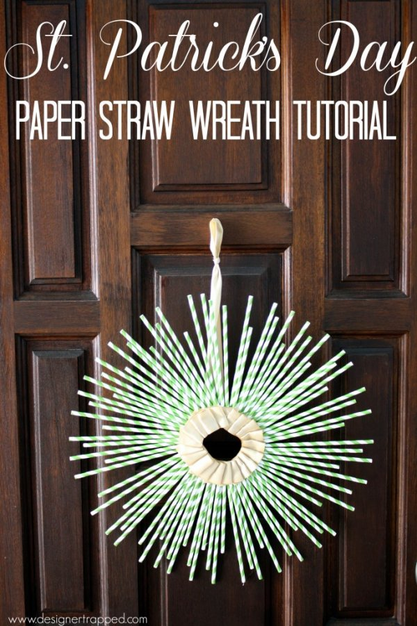 Handmade paper straw St. Patricks day wreath.