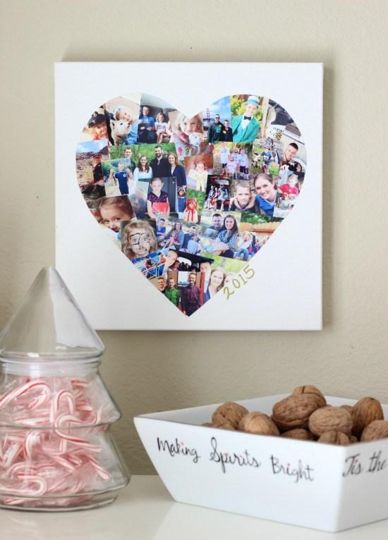 Heart shape photo collage.