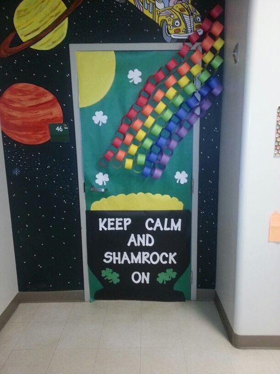 Keep calm and Shamrock on St. Patricks Day Classroom Door.