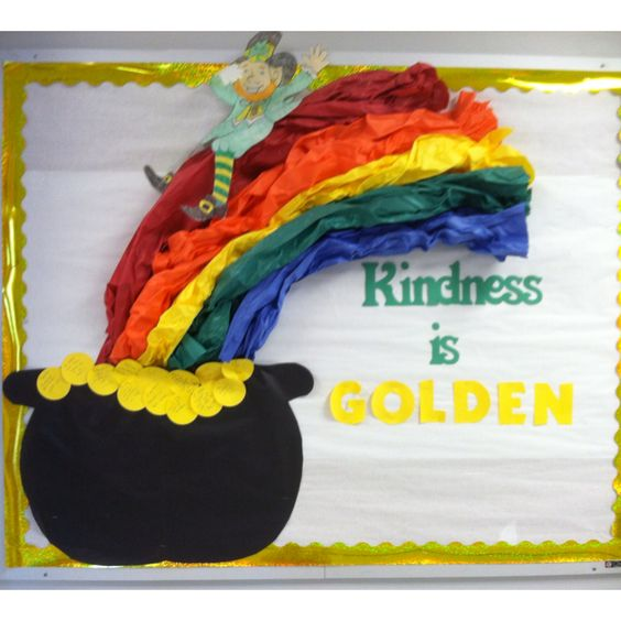 Kindness is golden bulletin board for Saint Patrick day.