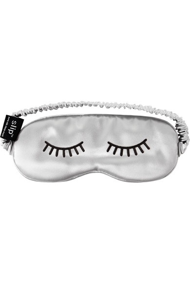 Lashes embroidered silk eye mask
