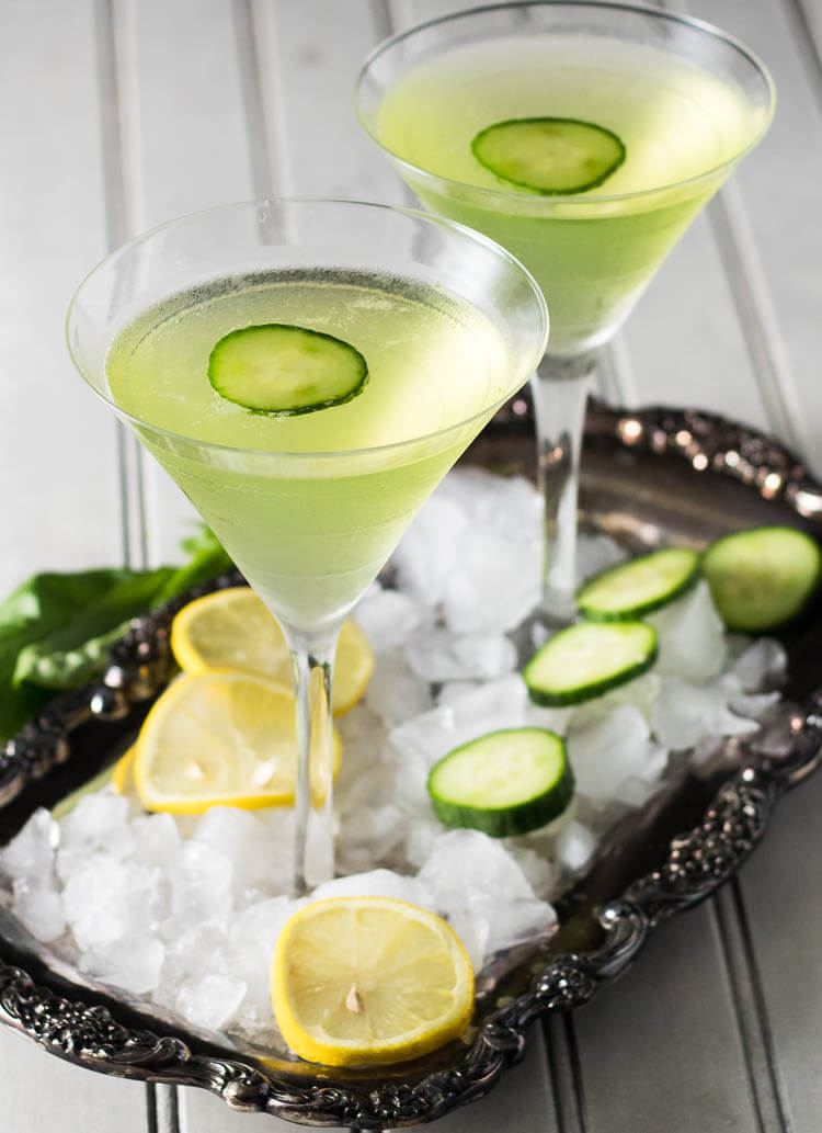 Lemon Cucumber Martini With Fresh Basil.