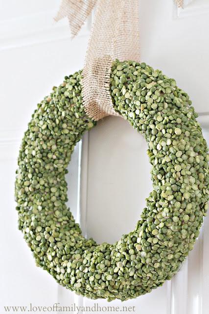Lovely split pea wreath for St. Patrick day.
