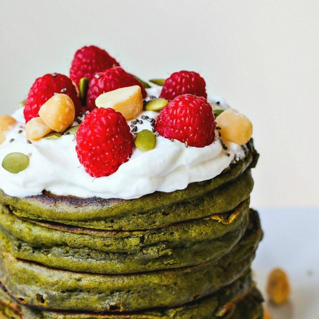 Matcha green teas pan cakes.
