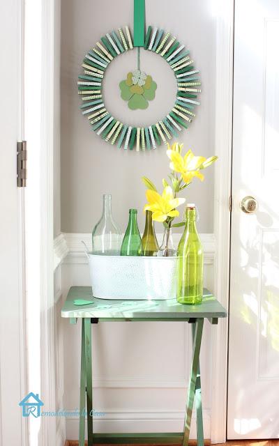 Nice cloth pins wreath for home decor.