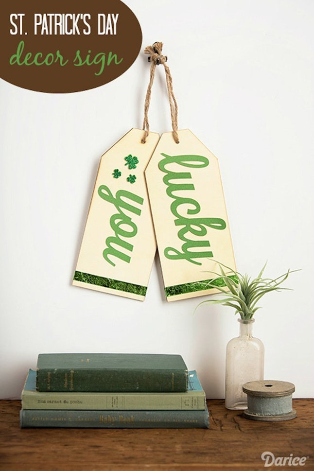 Oversized St. Patricks day wood tag for wall decor.