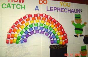 Paper chain rainbow classroom bulletin board.