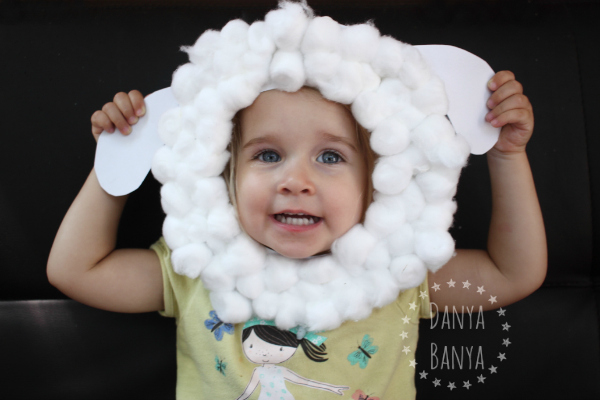 Paper plate sheep mask.