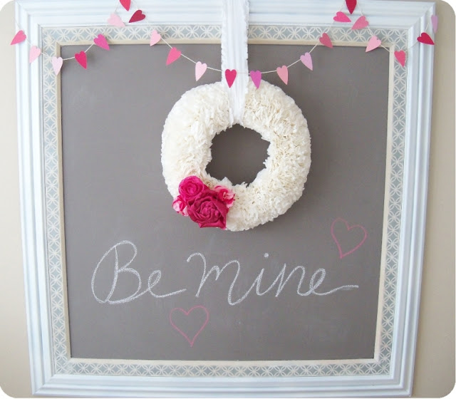 Pink & white Valentine's day decor.