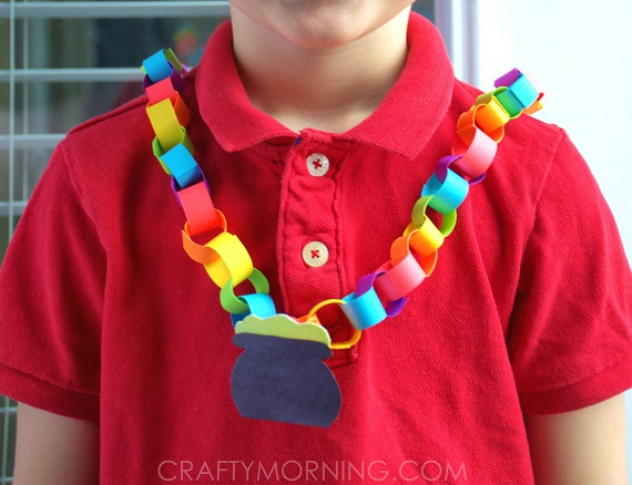 Pot -o-gold rainbow paper necklace.