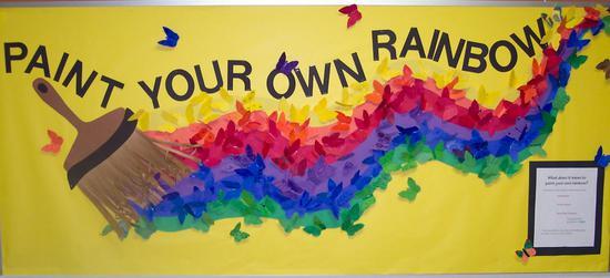 Rainbow bulletin board for St. Patrick day.